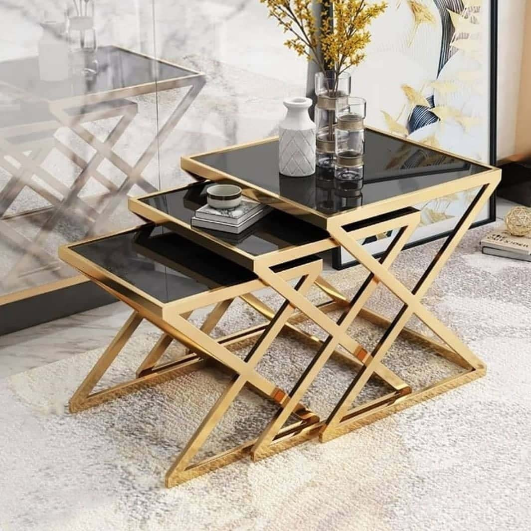 میز عسلی استیل طلایی